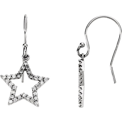 14K White Gold & Diamond Star Earrings