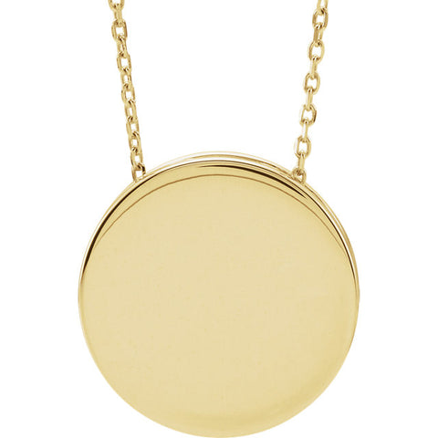 Gold Scroll Disc Necklace or Pendant Slide
