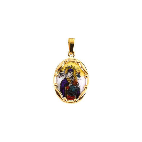 Hand Painted Our Lady of Perpetual Help Porcelain Pendant