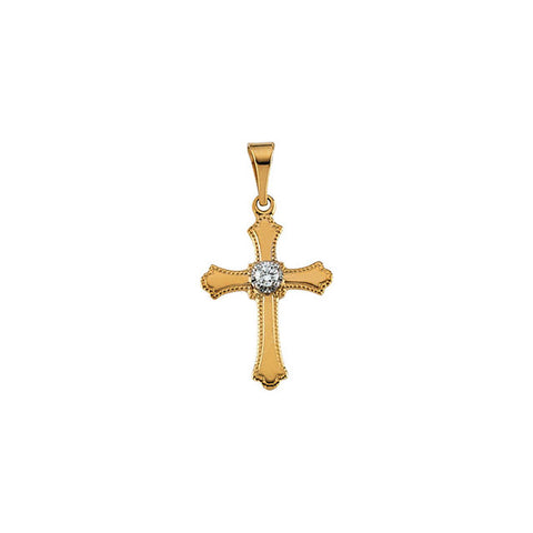 14K Gold .03 CTW Diamond Cross Necklace or Pendant