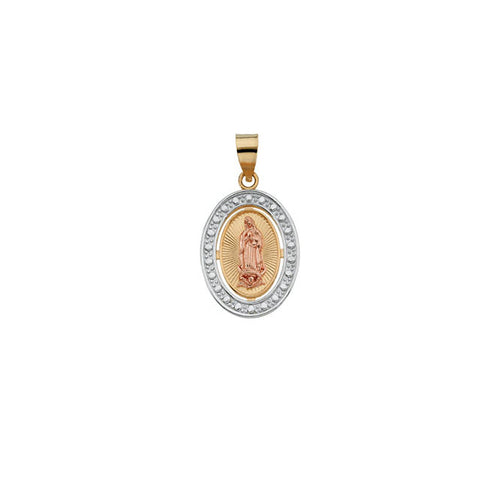 Tri-Color Our Lady of Guadalupe Pendant