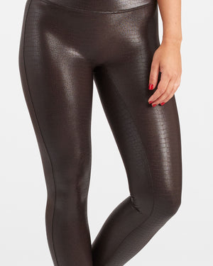 FAUX LEATHER CROC SHINE LEGGINGS