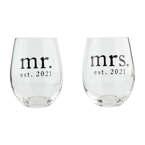 MR AND MRS 2021 WINE GLASS SET