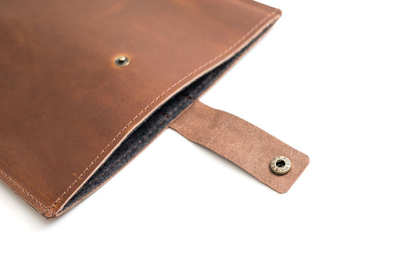 Brown Leather MacBook Sleeve with Strap | Mission Leather Co