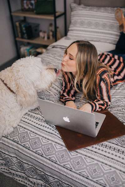 Poodle with Mikayla Blease and Leather MacBook Case | Mission Leather Co