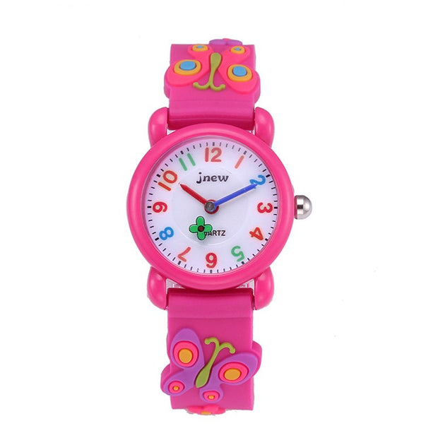 1 Pcs Children Kids Wrist Quartz Watch Round Dial Cute Butterfly Waterproof For School @M23