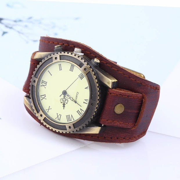 1 Pcs Men Wrist Bracelet Quartz Watch Roman Numerals Gear Faux Leather Band Round Big Dial Vintage Wide Strap For Business LL@17