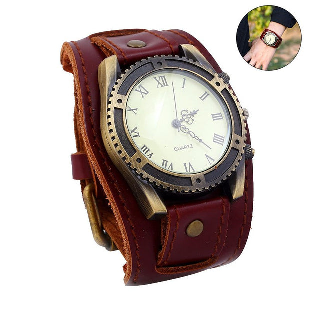 1 Pcs Men Wrist Bracelet Quartz Watch Roman Numerals Gear Faux Leather Band Round Dial Vintage Adjustable Strap For Business LXH