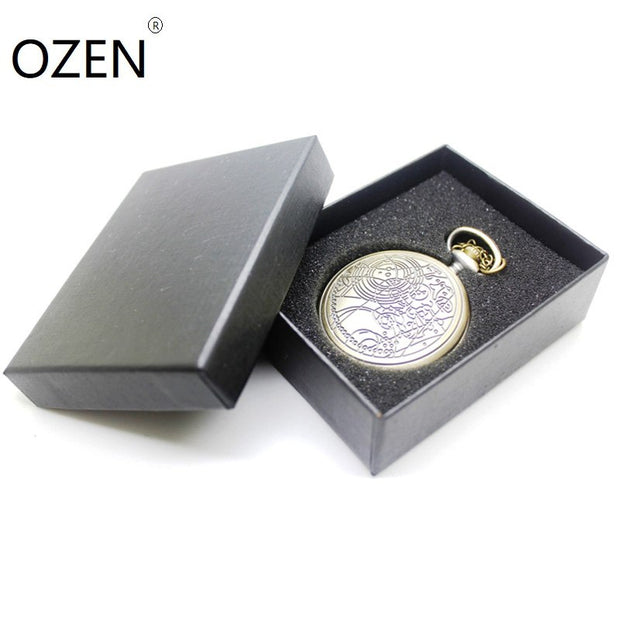 (1042) DW Doctor Who Desgin Necklace Engraved Quartz Pocket Watch,with Gift Box Dia 1.77""