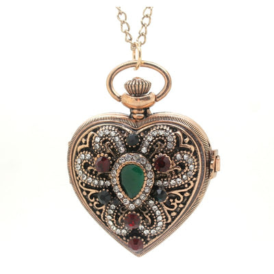 (1146) Vintage Gold Royal Palace Style Love Heart Shaped Shine Rhinestone Pocket Watch Necklace