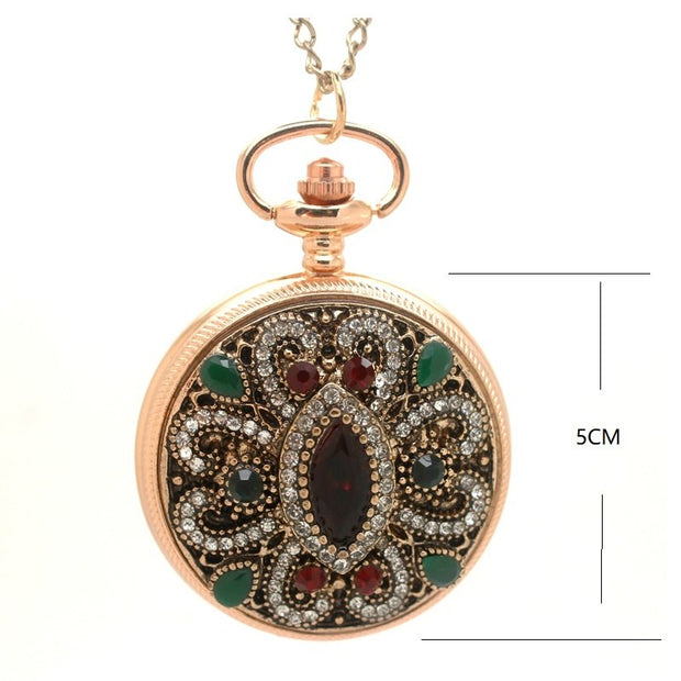 (1147) Gold Royal Palace Bohemian Love Heart Red Pocket Watches Sweater Vintage Turkish Pocket Watch Pendant Necklace