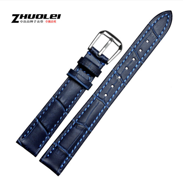 14mm Blue Genuine Leather Watch Band Mens Or Womens Ladies Watch Strap