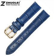 16mm 18mm 20mm New Bule Alligator Grain Genuine Leather Watch Band Strap Bracelets Gold Deployment Buckle Clasp Free Shipping