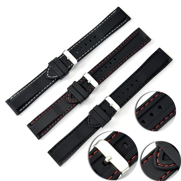 18-24mm Diving Waterproof Silicone Resin Strap Watch Band With Stainless Steel Buckle Watchband