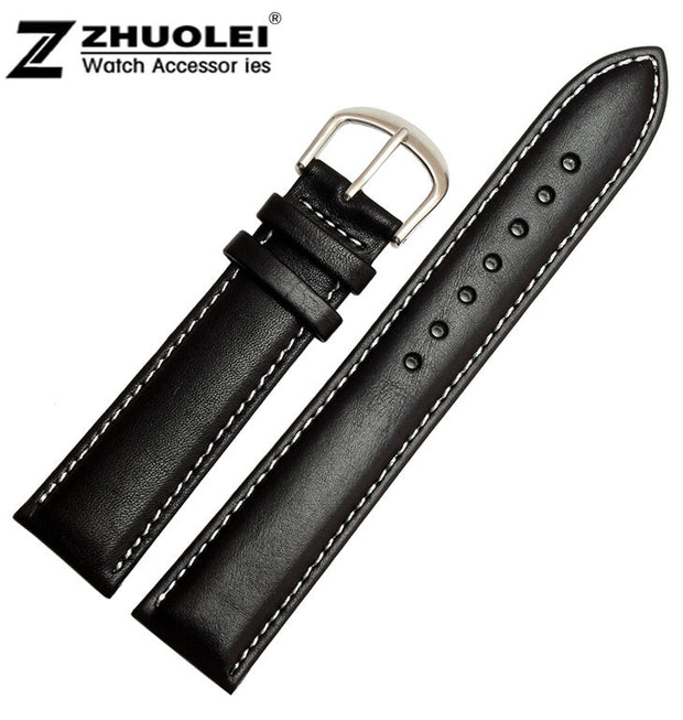18mm 19mm 20mm 22mm New Women Men Black Smooth Waterproof Genuine Leather Watchband Strap Silver Polished Steel Deployment Clasp