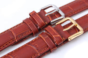18mm New High Quality Brown Alligator Pattern Genuine Leather Watch Bands Straps Bracelets Silver Deployment Clasp Buckle