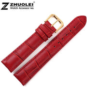 18mm New High Quality Red Alligator Pattern Genuine Leather Watch Bands Straps Bracelets Gold Deployment Clasp Buckle