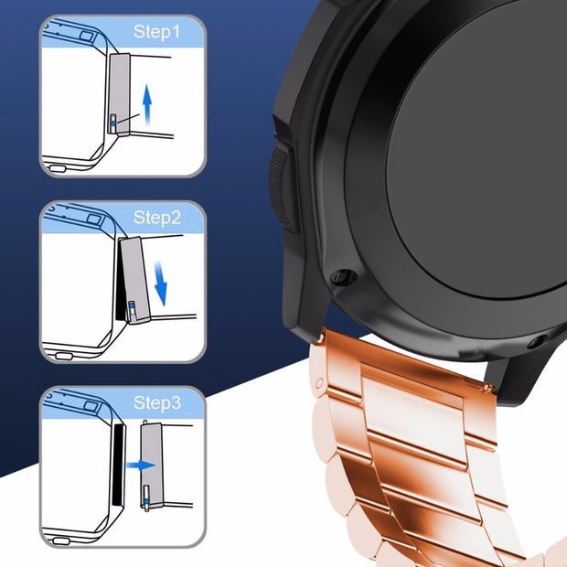 18mm Width Strap Smart Watch Metal Strap For Withings Activite / Steel / Pop 3 Links Stainless Steel Watch Band