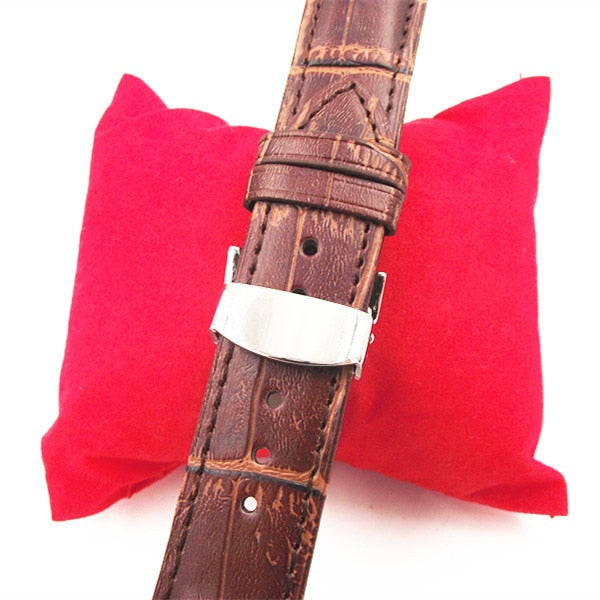 1PCS 18MM 20MM 22MM Genuine Leather Watch Band Watch Strap Waterproof Leather Stainless Steel Buckle Black Brown Color
