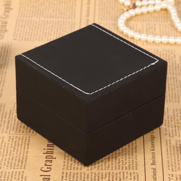 1Pc New Black PU Leather Watch Present Gift Display Case Bracelet Bangle Jewelry Storage Box