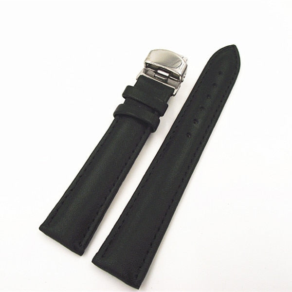 1pcs High Quality 18MM 20MM 22MM Genuine Leather Watch Band Watch Strap Black Color - 80402