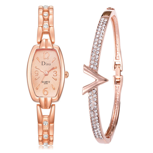 2 PCS Set Temperament Watch Women Rose Gold Diamond Bracelet Watch Luxury Jewelry Ladies Female Hour Casual Quartz Wristwatches