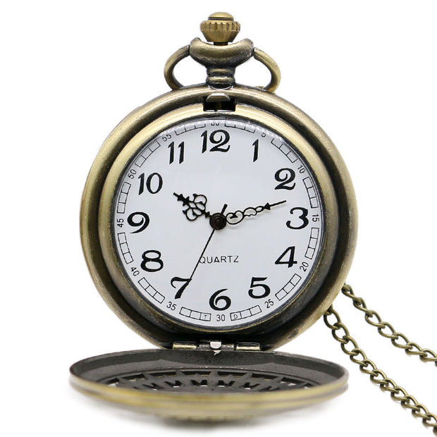 2016 Bronze Kuroshitsuji Hollow Men Women Quartz Pocket Watch With Necklace Chain Steampunk Boy Gift