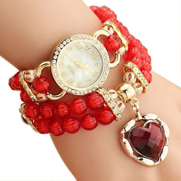 2016 Fashion Women's Bracelet Watches Vintag Quartz Leather Personalized Flowers Pearl Wrapped Bracelet Ladies Fashion Watch