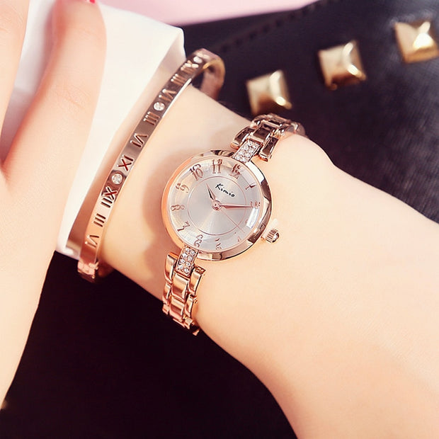 2017 Fashion Brand Kimio Luxury Quartz-watch Ladies Watch Women Gold Rhinestone Bracelet Waterproof Watches With Gift Box