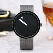2017 Simple Men Nordic Minimalist Watch Creative Single Pointer Dot Dial Stainless Steel Mesh Band Quartz Wristwatch Brief Clock
