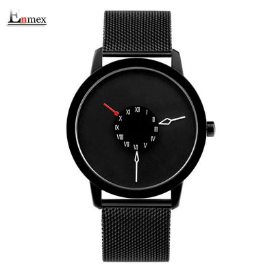2017 Men Gift Enmex Brief Design Stainles Steel Strap Creative Upside Down Hand Unique Design For Young Fashion Quartz Watches