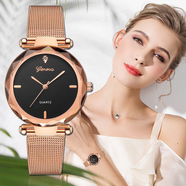 2018 Best Sell Women Watches Geneva Fashion Classic Hot Sale Luxury Stainless Steel Analog Quartz WristWatches Relogio Feminino