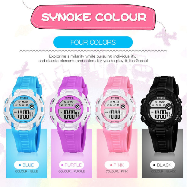 2018 Children Multi-Function 50M Waterproof LED Digital Double Action Watch10.5