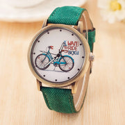 2018 Fashion Brand Quartz Watches Bicycle Pattern Cartoon Watch Women Casual Vintage Leather Girls Kids Wristwatches Gifts Clock