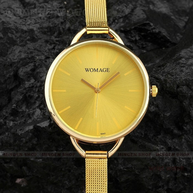 2018 Fashion Womage Brand Mesh Steel Luxury Gold Women Bracelet Women's Watches Luxury Ladies Clock Reloj Mujer Relogio Feminino