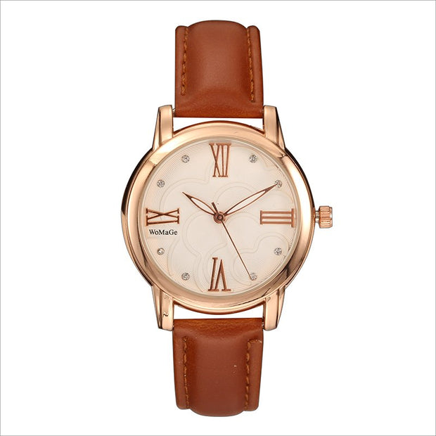 2018 Fashion Womage Brand Watches Embossed Flowers Quartz Pu Leather Belt New Gift Female Girl Student Gift Quartz Wristwatches