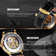 2018 High Quality Hot Sale Men's Watch 3D Hollow Engraving Case Roman Number Skeleton Dial Mechanical Watch Clock Gift