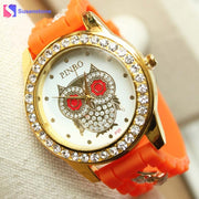 2018 Hot Sale New Silicone Rubber Strap Rhinestone Owl Watches Women Fashion Casual Quartz Watch Ladies Sport Wristwatches
