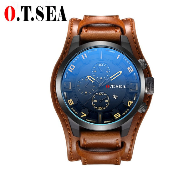 2018 Hot Sales O.T.SEA Brand Leather Watch Men Military Sports Quartz Wristwatch With Date Relogio Masculino 1032B