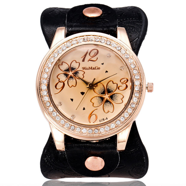 2018 Luxury Womage Brand Round Dial Shape Casual Fashion Wristwatch Fashion Quartz Watch With Leather Student Girl Gifts Women