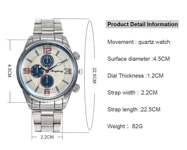 2018 News Luxury Fashion Stainless Steel For Men's Quartz Analog Wrist Watch10.3