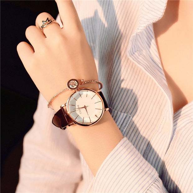 2018 Polygonal Dial Design Women Watches Luxury Fashion Dress Quartz Watch Ulzzang Popular Brand White Ladies Leather Wristwatch