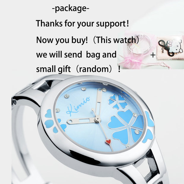 2018 Women Kimio Brand Quartz Bracelet Wristwatch Stainless Steel Clover Crystal Ladies Dress Watches For Woman Clock