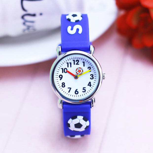 2018 Children Boys Girls Cartoon Quartz Silicone Watches Kids Students 3D Football Sports Electronic Watches For Birthday Gifts