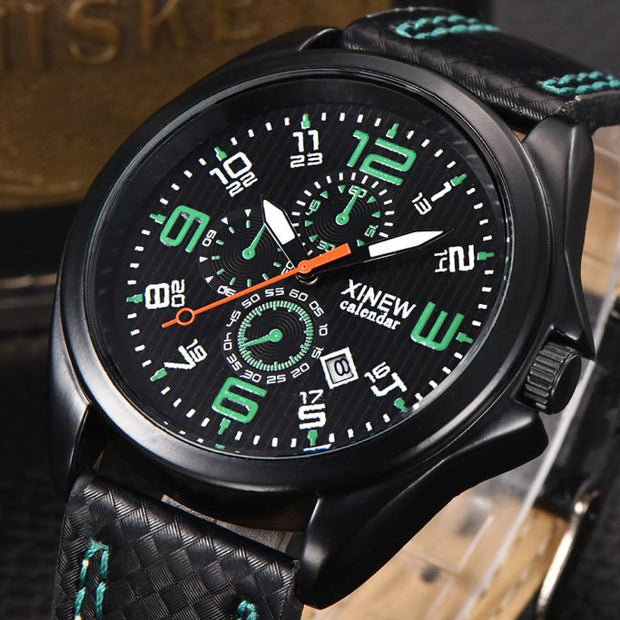 2018 Watch Men Top Brand Luxury Men's Leather Band Watches Military Sport Quartz Date Wrist Watches Business Relogio Masculino