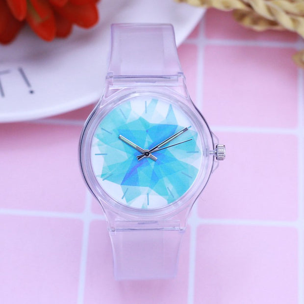 2018 Women Girls Simple Transparent Luminous Hands Quartz Watches Ladies Resin Round Face Electronic Fashion Casual Watches