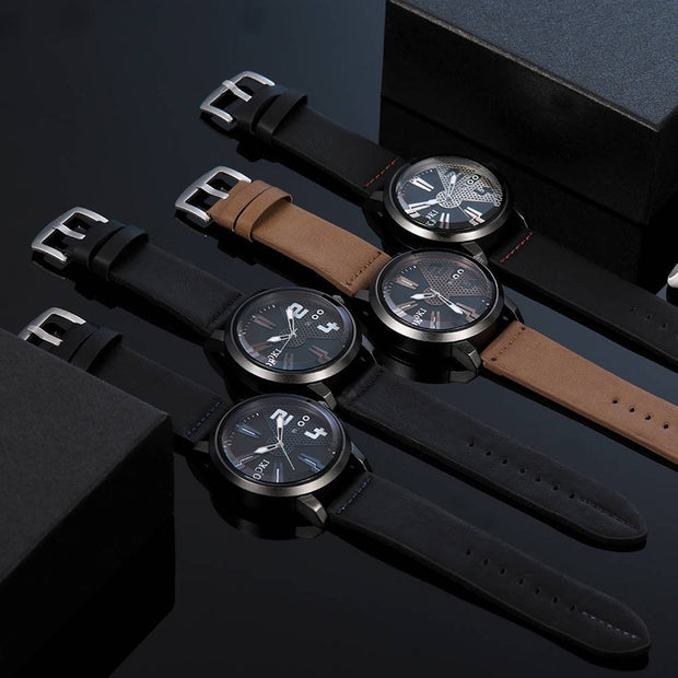 2019 Fashion Casual Men Watch Round Dial Faux Leather Strap Bracelet Men Quartz Analog Wristwatch Relogio Masculino Clock Gift