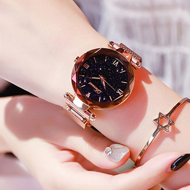 2019 New Famous Rosy Gold Mesh Magnet Starry Sky Quartz Watch Women Casual Watches Relogio Feminino Ladies Wrist Watch Hot Sale