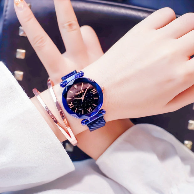 2019 New Fashion Rosy Gold Mesh Magnet Starry Sky Quartz Watch Women Casual Watches Relogio Feminino Ladies Wrist Watch Hot Sale