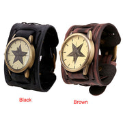 2019 New Style Retro Punk Rock Watches Classic Brown Big Wide Leather Bracelet Cuff Men Watch Cool Reloj Mujer A3